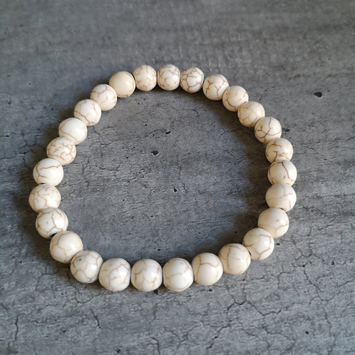 Bracelet pierre Howlite beige nervuré