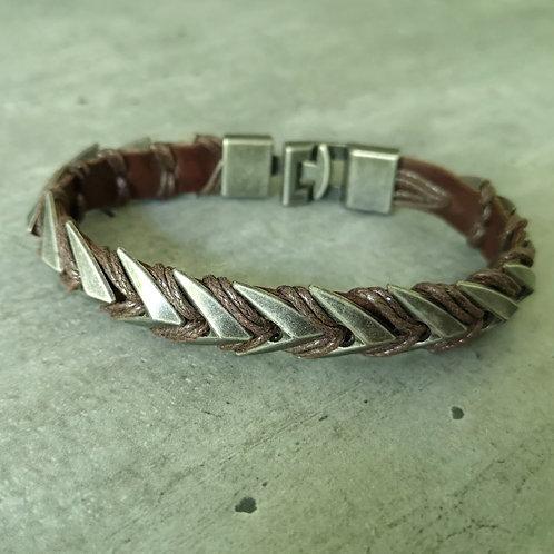 Bracelet cuir marron et métal acier