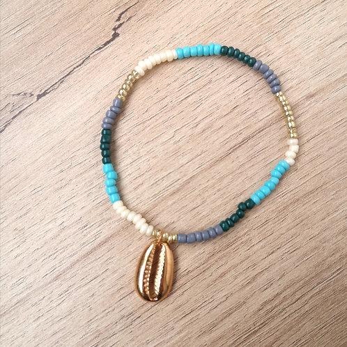 Bracelet cheville CAURI multicouleurs turquoise