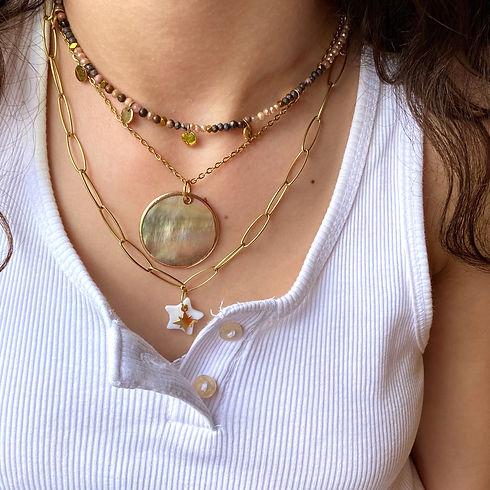 Combo de colliers acier perles nacre coquillage