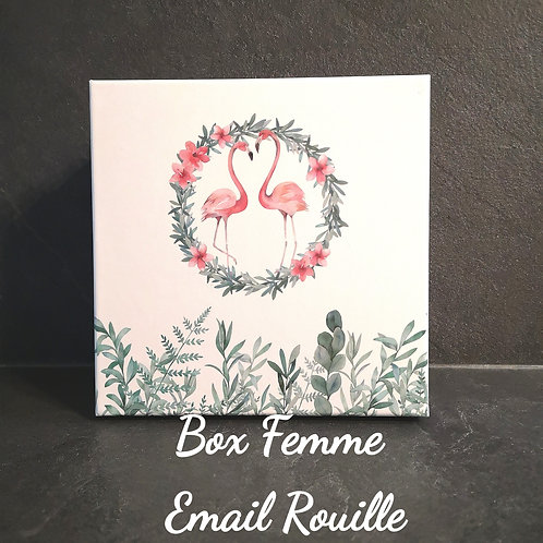 Box Femme  Email rouille et strass,  Collier + Bracelet + Bague