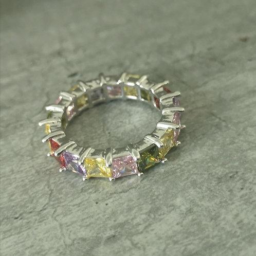 Bague baguette multicolore en argent 925 et oxyde de zirconium