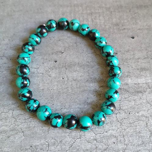 Bracelet pierre Howlite bleu/vert tacheté de noir