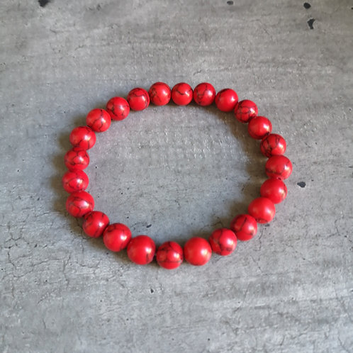 Bracelet pierre Howlite rouge