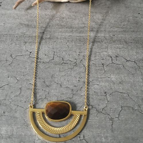 Collier pierre œil de tigre en acier doré