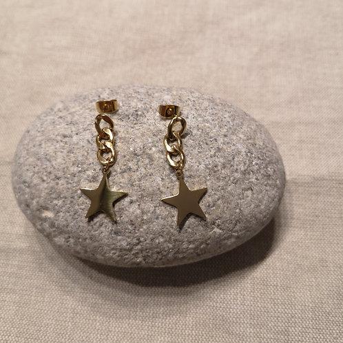 Boucles d'oreille acier doré chaînette étoile