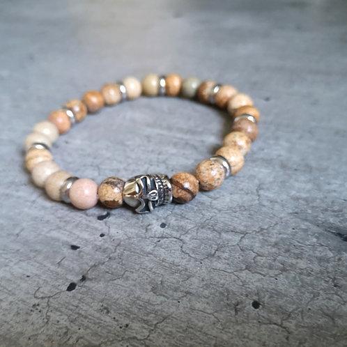 Bracelet pierre Jaspe beige et tête de mort en acier