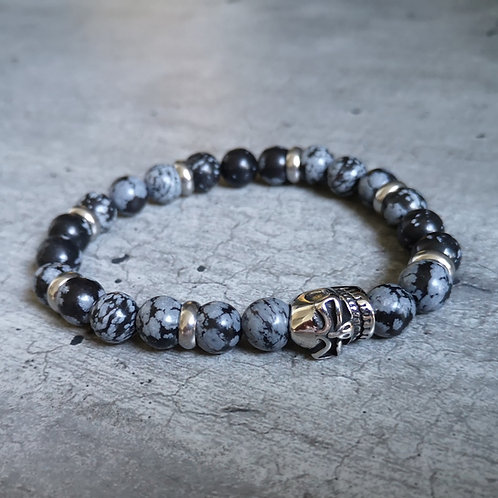 Bracelet pierre Sodalite et tête de mort en acier