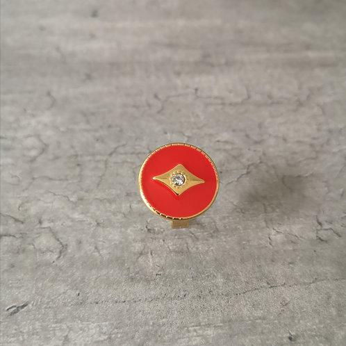 Bague ronde en acier et émail rouge