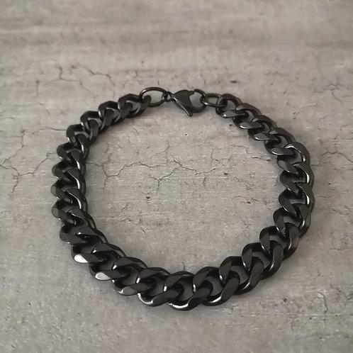 Bracelet maille gourmette noir 19.5 cm