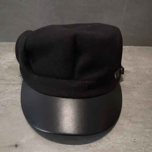 Casquette Gavroche noire visière simili cuir