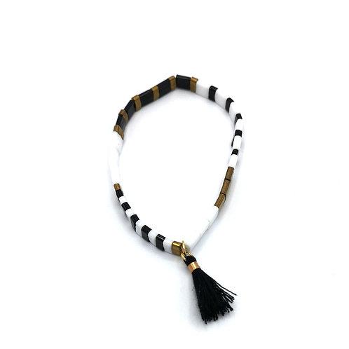 Bracelet SUMMER blanc et noir pompon