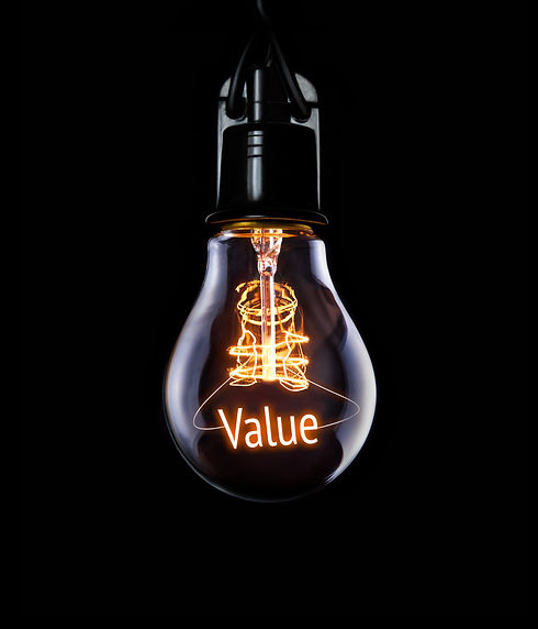 Hanging lightbulb with glowing Value con