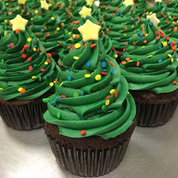 Holiday decorated cupcakes