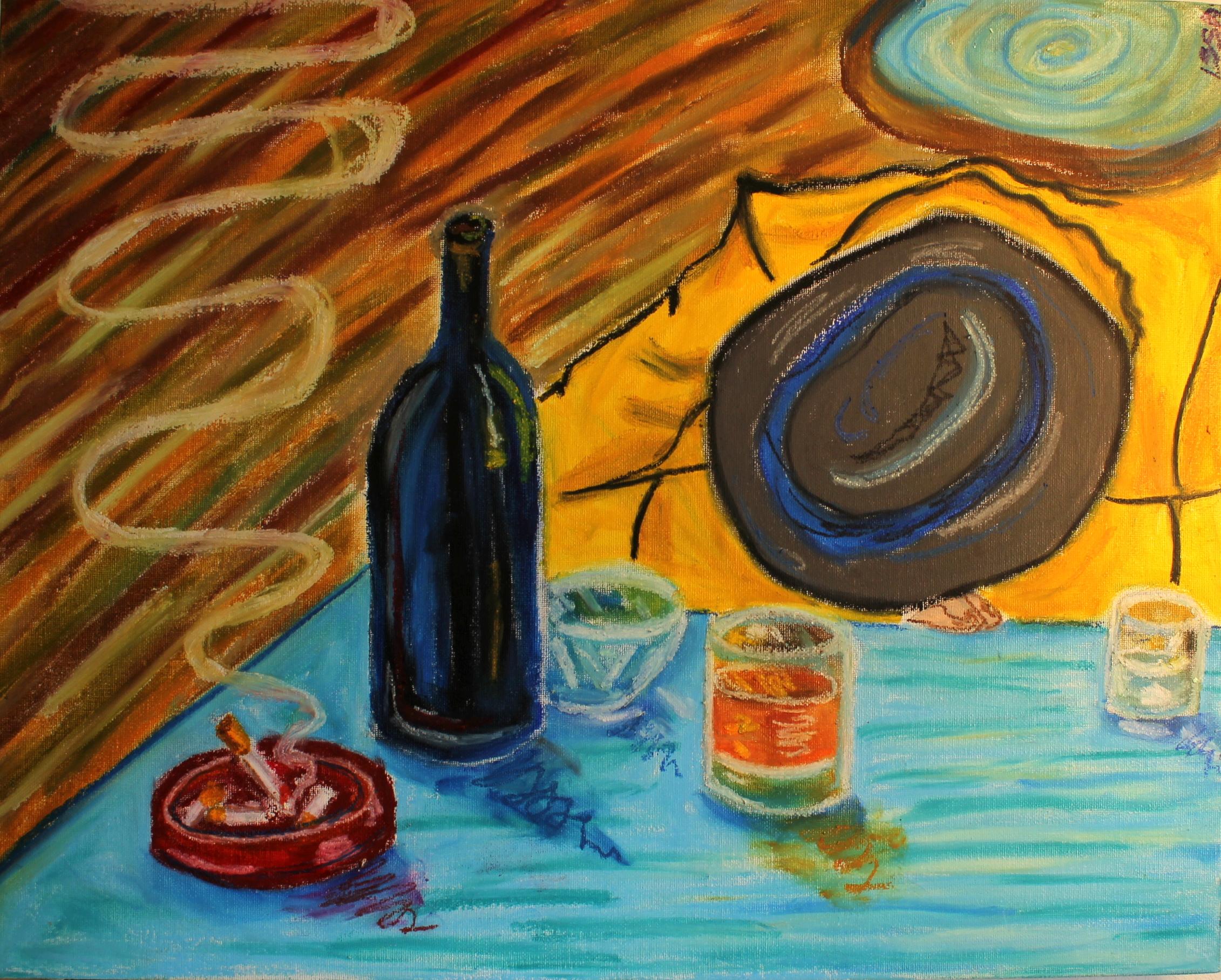 Still Life with Wine Bottle, Cigarette and drunk gentleman