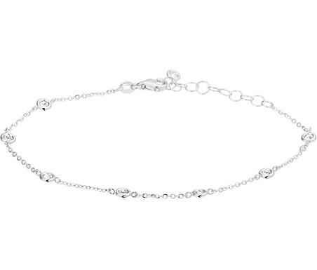 Dames armband witgoud  bezet met Zirkonia van 1.2 mm 16 -19 cm