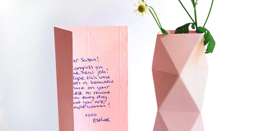 Kaarten vaas klein Roze