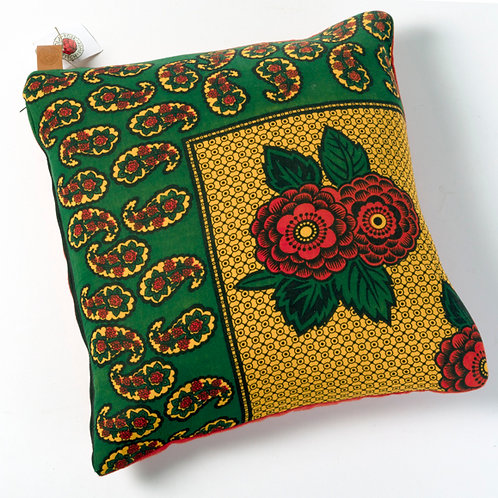 Green, red, yellow rose pillow