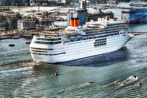 Cruise Ship leaving Amsterdam