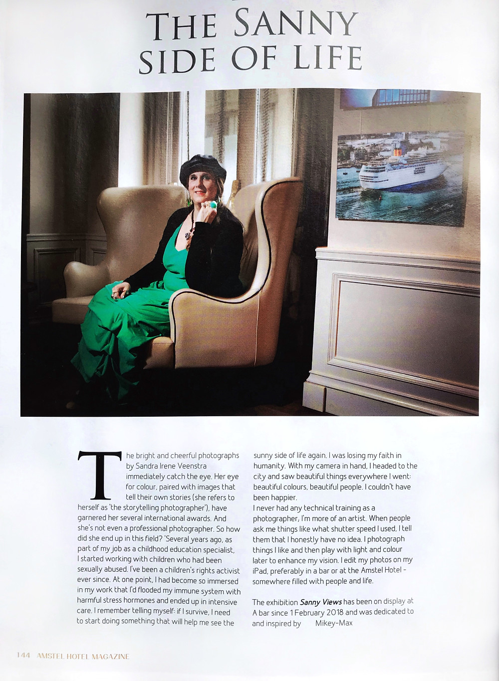 Interview in Amstel Hotel Magazine 2018/2019