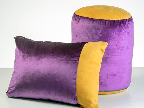 Purple velvet ocher suede pouf