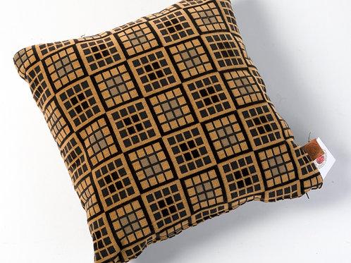 Ocher black square pillow