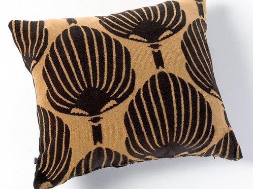 Ocher black leaves pillow
