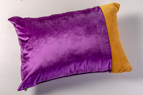 Purple velvet ocher suede pillow
