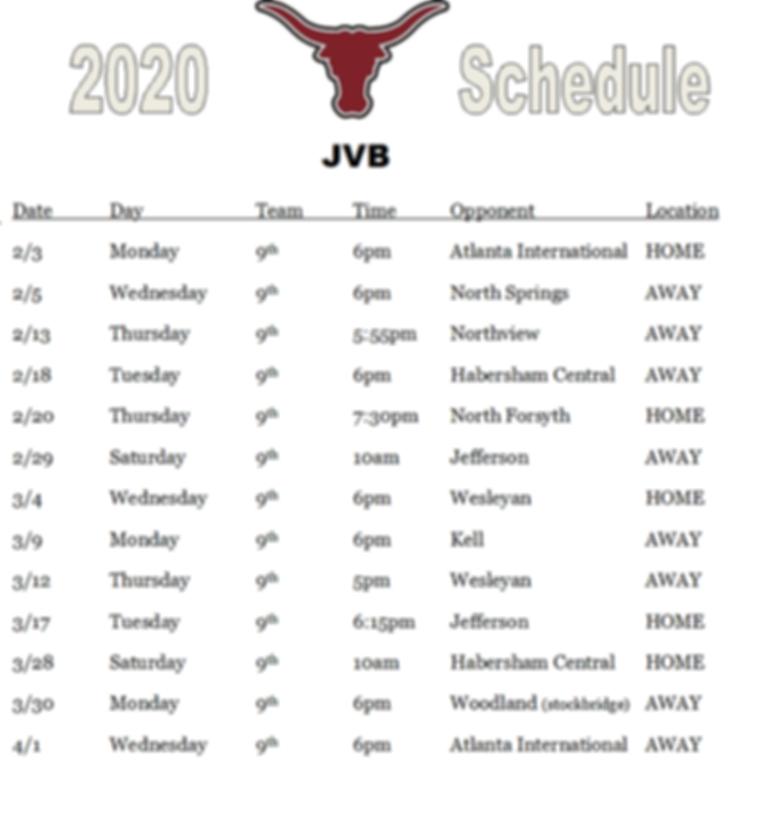 2020 Freshman Team Schedule.png