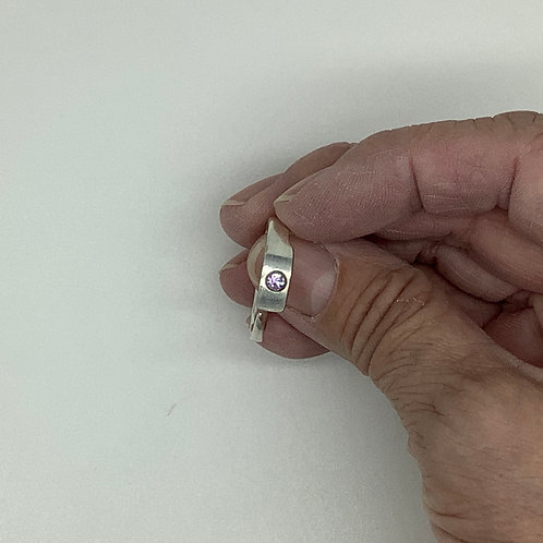 Fork Tine Spoon Ring-Very Pale Pink Rhinestone