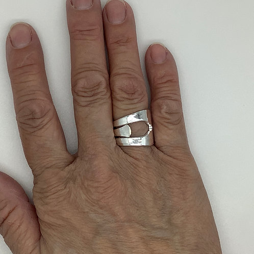 Spoon Ring Hammered 2 Prong Fork