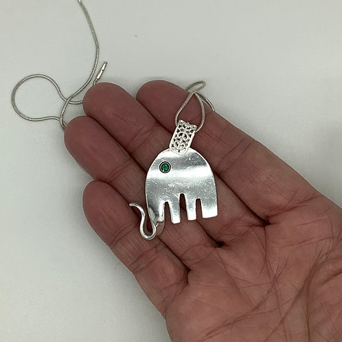 Elephant Pendant with Emerald Eye-May