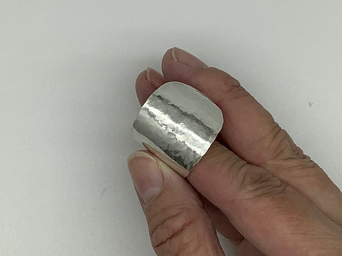 Large Hammered Spoon Ring