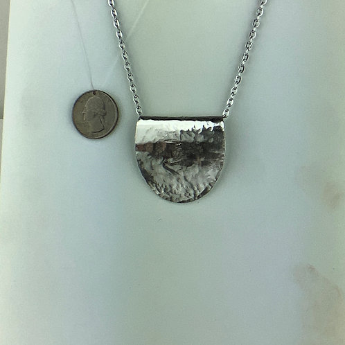 Hammered Spoon Silverware Foldover Pendant