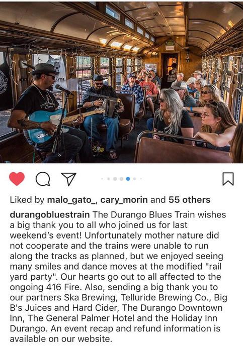 Dos Gatos play the Durango Blues Train June 1,2 2018