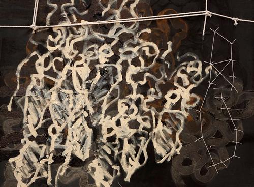 TRÍPTIC DE LA LLUITA (III) 2020  90x70cm Acrílico, tinta y costuras sobre algodon