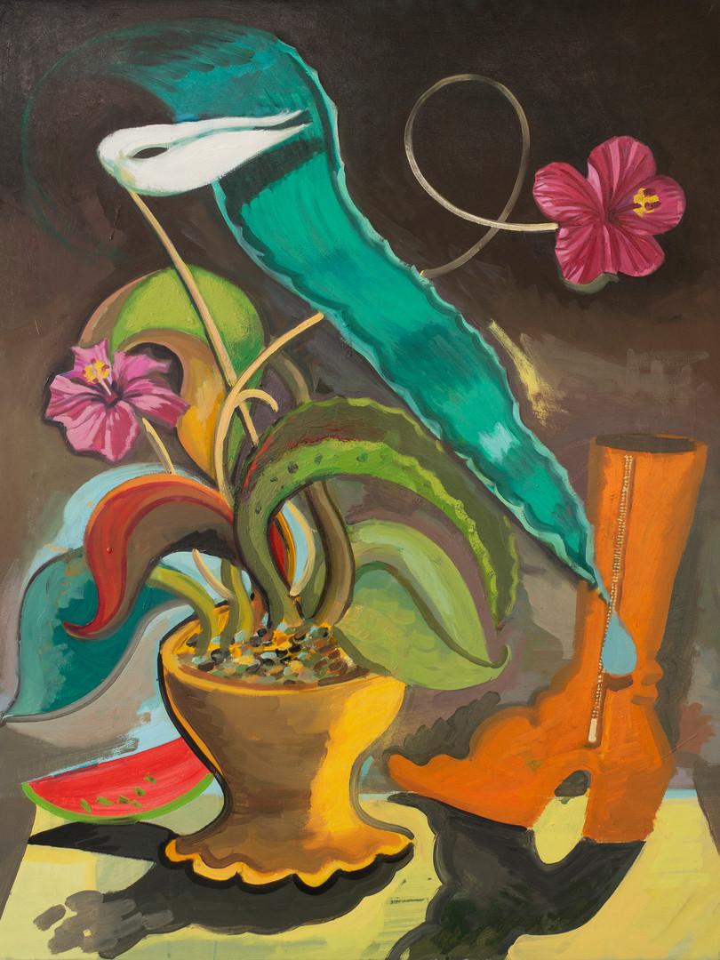 Blumen und Schuh 73x92cm