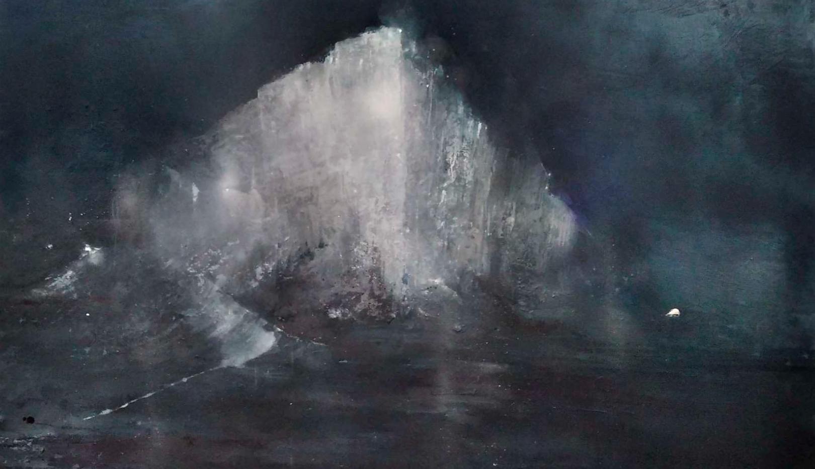 La deriva de la desmesura.  145 x 113 cm Acrílico y esmalte sobre tela.  2020