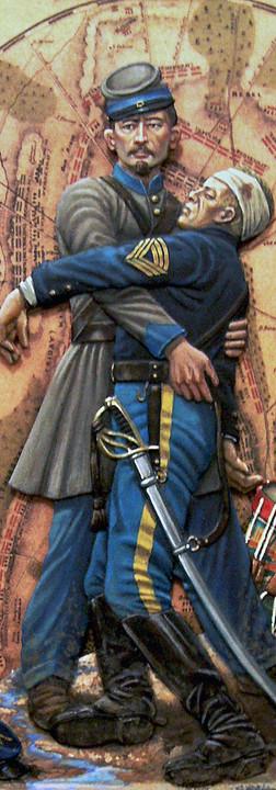 Demi-round resin Civil War figure.