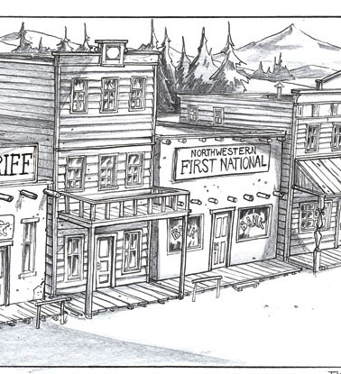 Ext. Western town - Reverse angle.