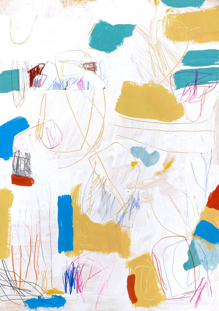 Portuguese Playground #2, 28 x 20, mixed media on paper, 2019