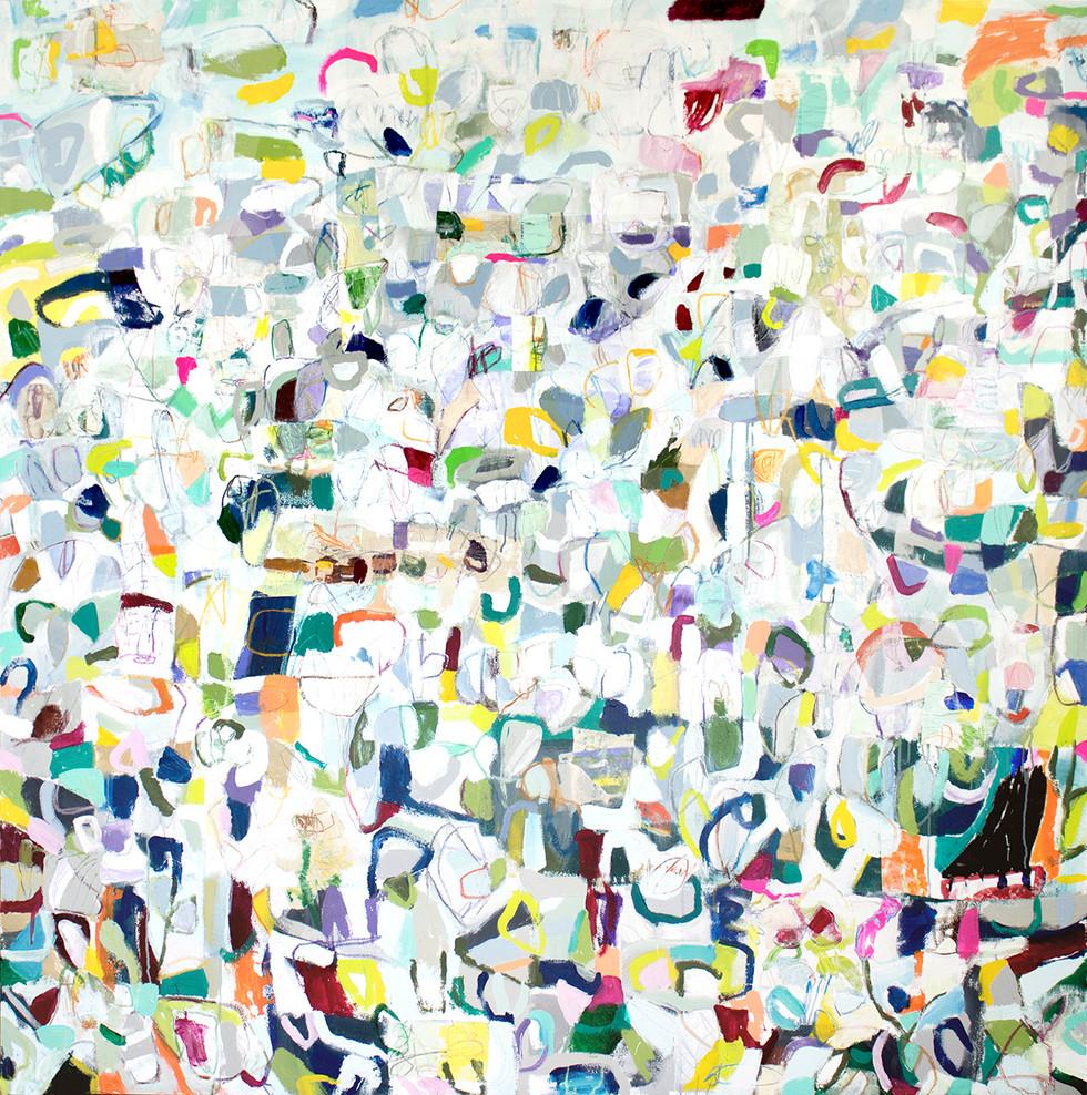 Daisy, 72 x 72, mixed media on canvas, 2018