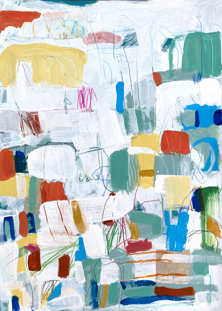 Portuguese Playground #9, 28 x 20, mixed media on paper, 2019