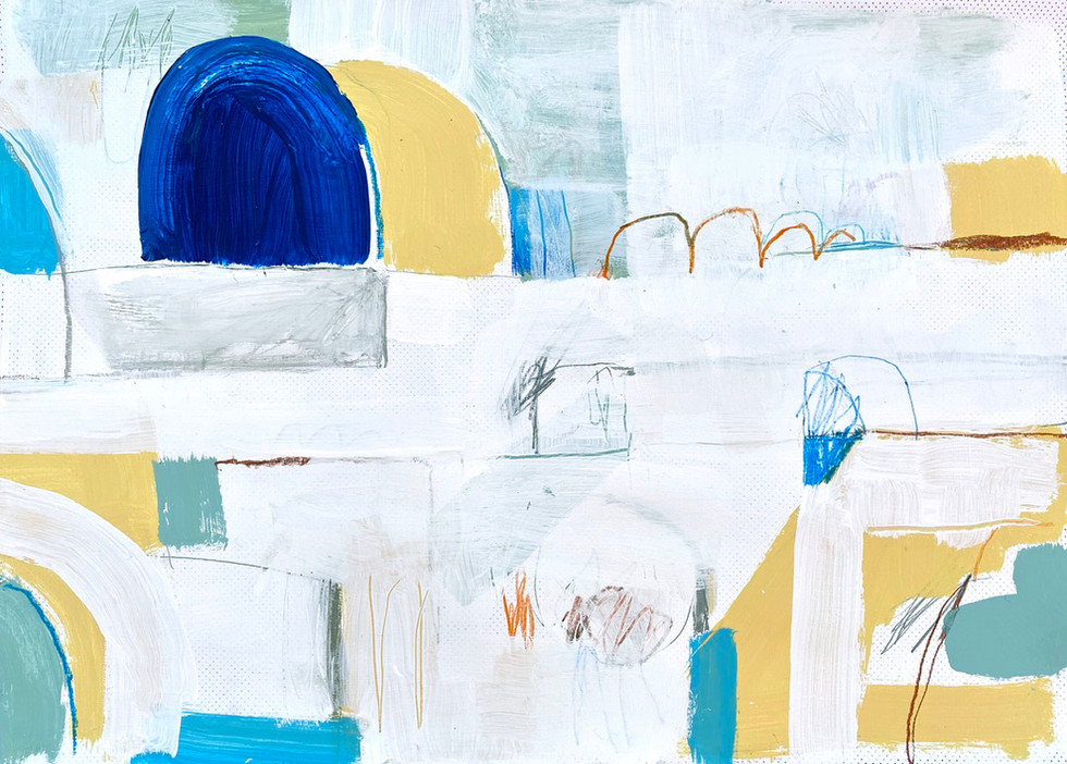 Portuguese Playground #5, 28 x 20, mixed media on paper, 2019