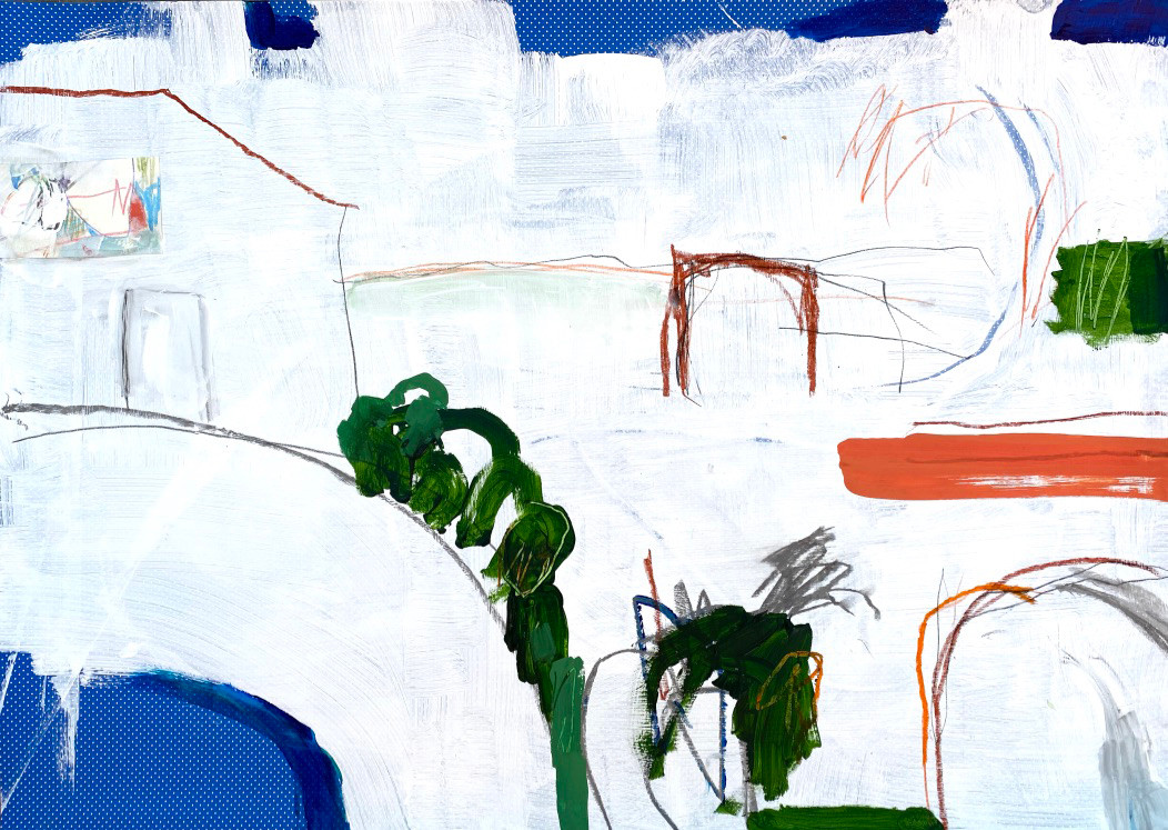 Portuguese Playground #8, 28 x 20, mixed media on paper, 2019