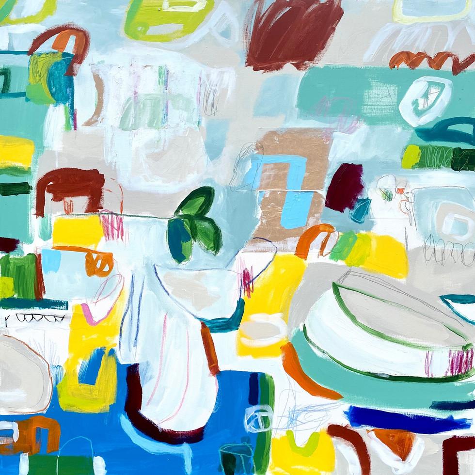 "Summer House #2, 48"" x 48"", mixed media on canvas, 2020"