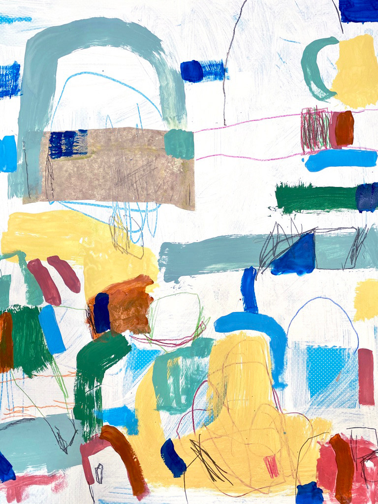 Portuguese Playground #4, 28 x 20, mixed media on paper, 2019