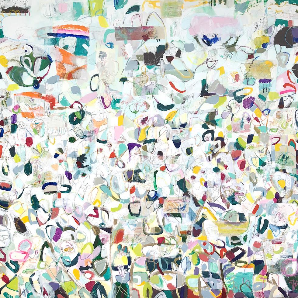 Lotus, 72 x 72, mixed media on canvas, 2018