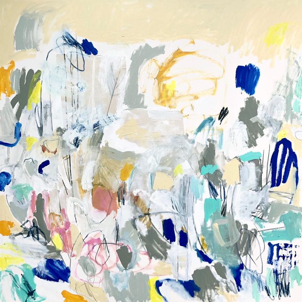 "Moon Sign, 48"" x 48"", mixed media on canvas, 2019"