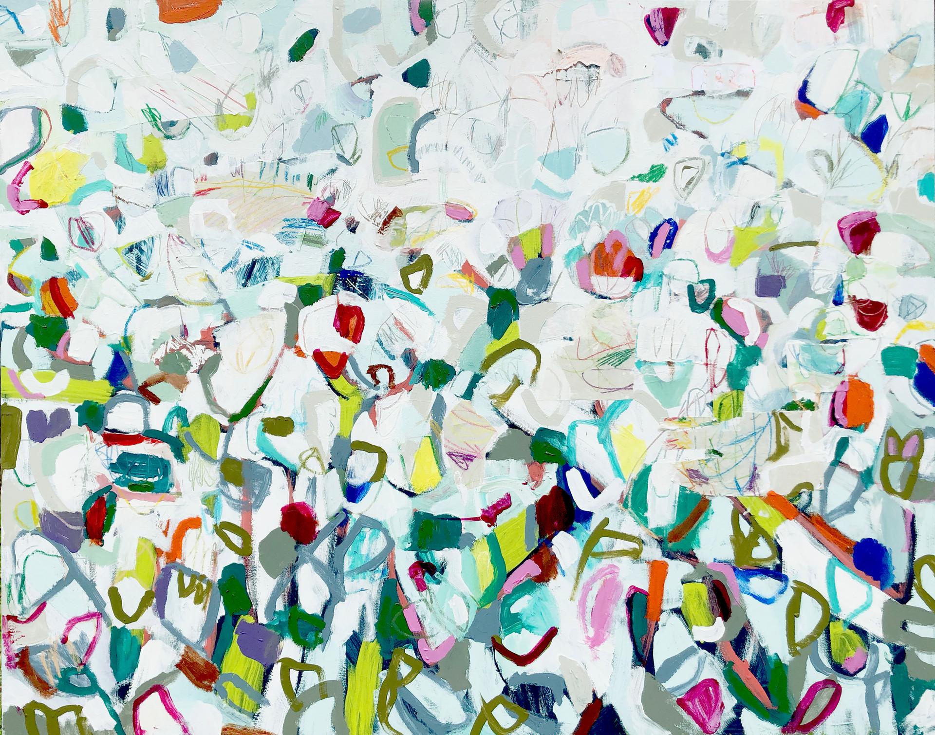 "Instagarden, 60"" x 48"", mixed media on canvas, 2019"